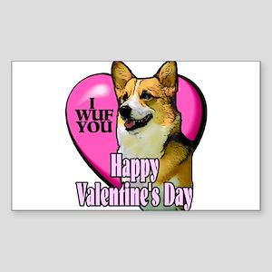 Welsh Corgi Valentines Rectangle Sticker 10 pk)