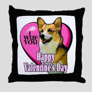 Welsh Corgi Valentines Throw Pillow