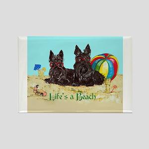 Life's a Beach Scottish Terri Rectangle Magnet