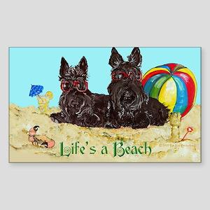 Life's a Beach Scottish Terri Rectangle Sticker