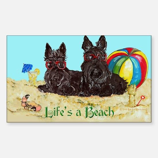 Life's a Beach Scottish Terri Rectangle Decal