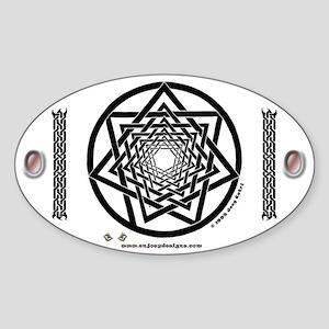 Spiral Heptagram - Oval Sticker