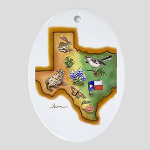 Texas Symbols Oval Ornament