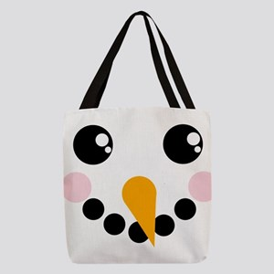 Snowman Face Polyester Tote Bag