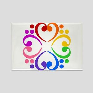 Bass Clef Flower Rectangle Magnet