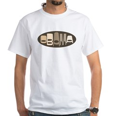 Funky Obama Oval (brown) White T-Shirt