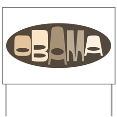 Funky Obama Oval (brown) Yard Sign