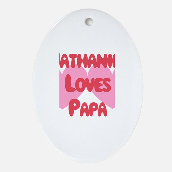 Nathaniel Loves Papa Oval Ornament