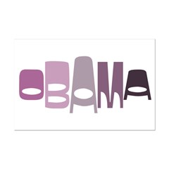 Funky Obama Oval (purple) Mini Poster Print