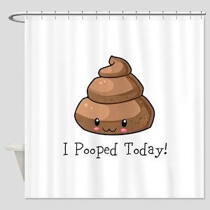 I Pooped Today Poop Emoji Shower Curtain