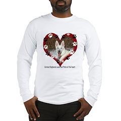 Paw Prints on My Heart, White Long Sleeve T-Shirt