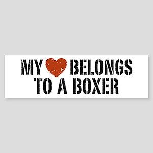 My Heart Belongs to a Boxer Bumper Sticker