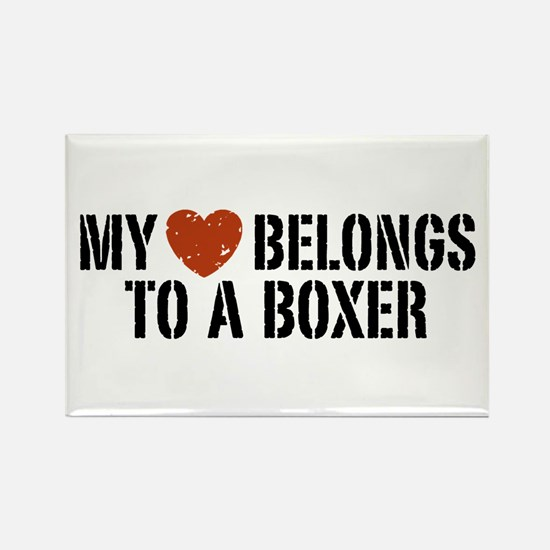 My Heart Belongs to a Boxer Rectangle Magnet