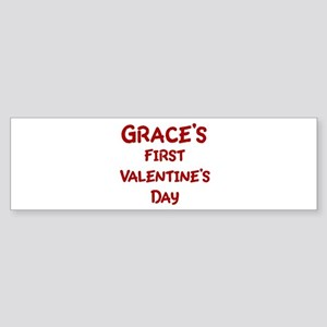 Graces First Valentines Day Bumper Sticker