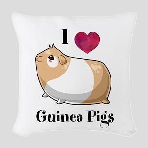 I Love Guinea Pigs Woven Throw Pillow