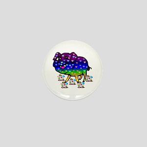 Rainbow Hearts Pig Mini Button