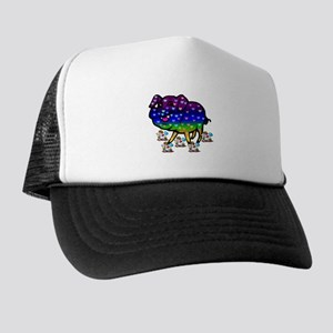 Rainbow Hearts Pig Trucker Hat