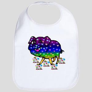Rainbow Hearts Pig Cotton Baby Bib