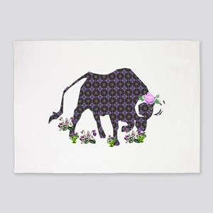 Purple Ox With Rose 5'x7'Area Rug