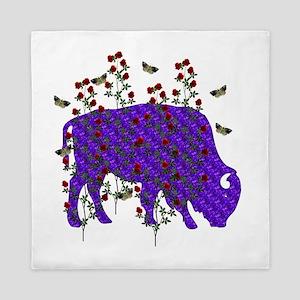 Purple Ox In Roses Queen Duvet