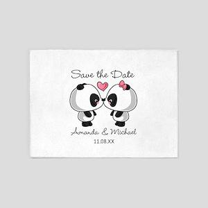 Pandas Save the Date 5'x7'Area Rug
