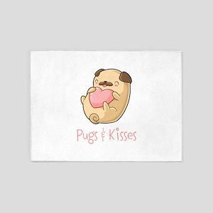 Cute Pugs and Kisses 5'x7'Area Rug