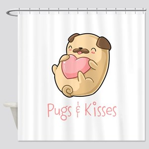 Cute Pugs and Kisses Shower Curtain