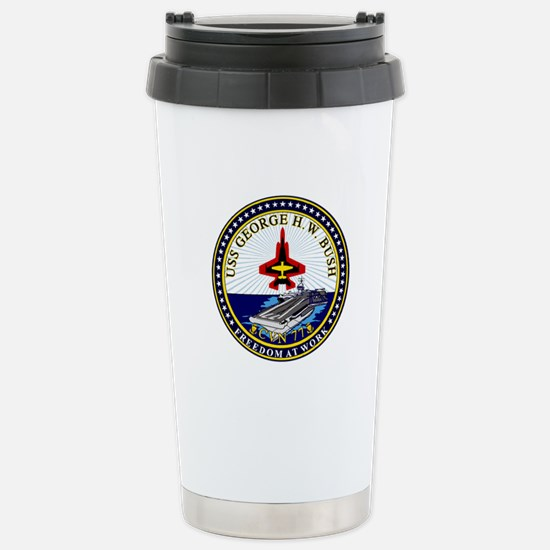 USS George Bush CVN-77 Stainless Steel Travel Mug