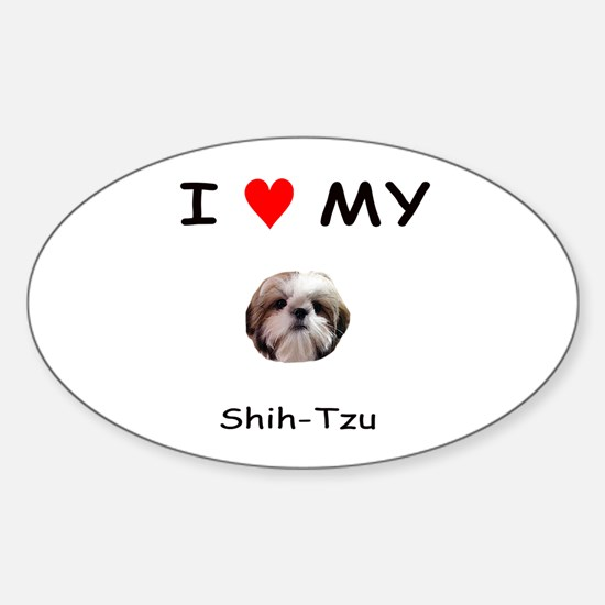 I Heart My Shih Tzu Oval Decal