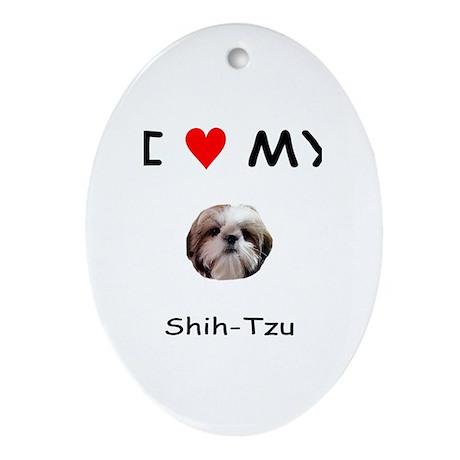 I Heart My Shih Tzu Oval Ornament