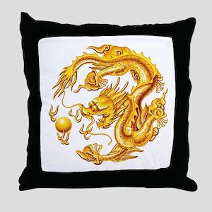 Golden Dragon Throw Pillow