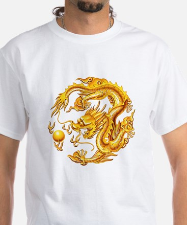 Golden Dragon White T-Shirt