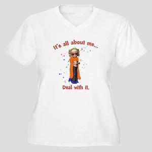 Little Diva Women's Plus Size V-Neck T-Shirt