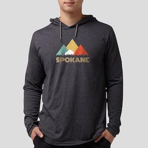 Retro City of Spokane Mountain Long Sleeve T-Shirt