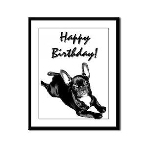 Happy Birthday French bulldog Framed Panel Print