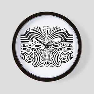 Maori Tatto-black & white Wall Clock