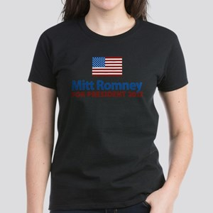 Mitt Romney American Flag Women's Dark T-Shirt