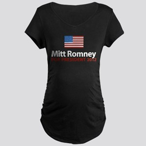 Mitt Romney American Flag Maternity Dark T-Shirt