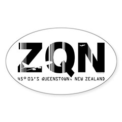 Queenstown Airport New Zealand ZQN Oval Decal