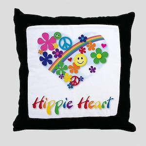 Hippie Heart Throw Pillow