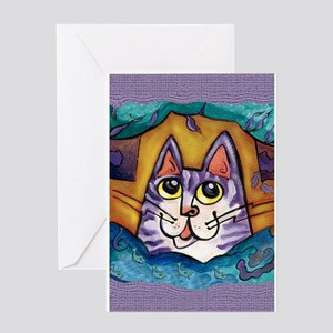 Fun Happy Purple Cat Greeting Card