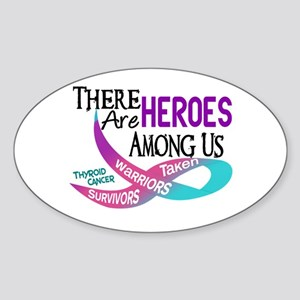 Heroes Among Us THYROID CANCER Oval Sticker