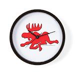 Red Moose Running Wall Clock