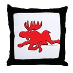 Red Moose Running Throw Pillow