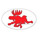 Red Moose Running Oval Sticker (50 pk)