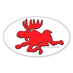 Red Moose Running Oval Sticker (10 pk)