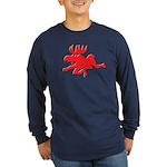 Red Moose Running Long Sleeve Dark T-Shirt
