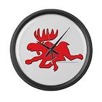 Red Moose Running Large Wall Clock