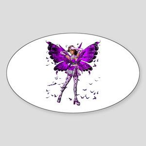 Butterfly Kisses Amethyst Oval Sticker
