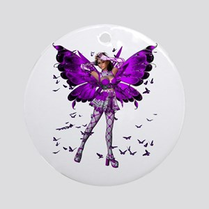 Butterfly Kisses Amethyst Ornament (Round)